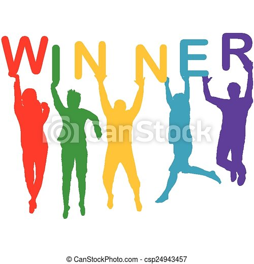 gagnant, silhouettes, concept, sauter, gens - csp24943457