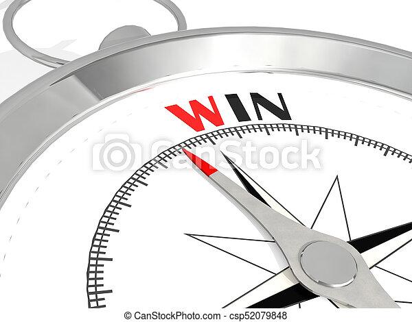 gagner, metalic, mot, compas - csp52079848