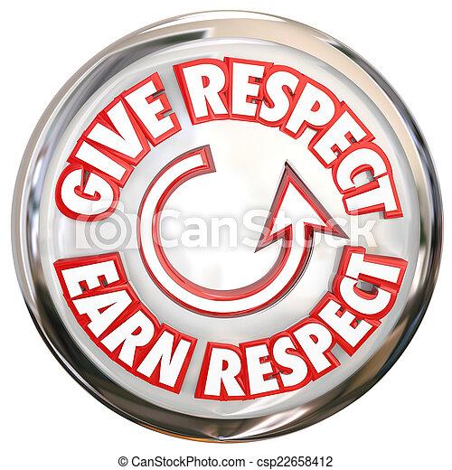 gagner, mots, donner, hon, gagner, bouton, comment, vénération, respect, blanc - csp22658412