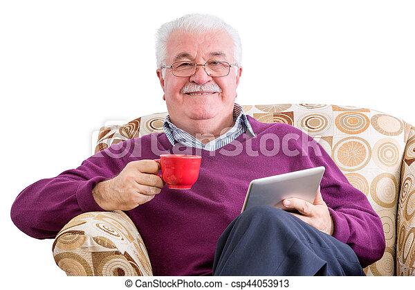 gai, café, informatique, tablette, homme - csp44053913