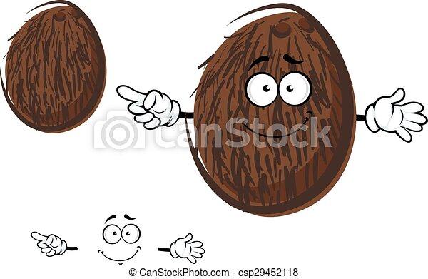 Gai noix coco fruit caract re dessin anim brun noix - Dessin noix de coco ...
