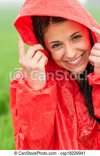 gai, portrait, adolescent, pluie - csp18226941