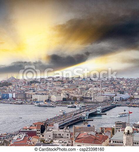 Galata Bridge and city skyline, Istanbul - csp23398160