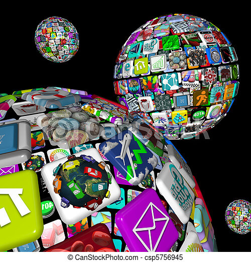 Galaxy of Apps - Several Spheres of Application Tiles - csp5756945