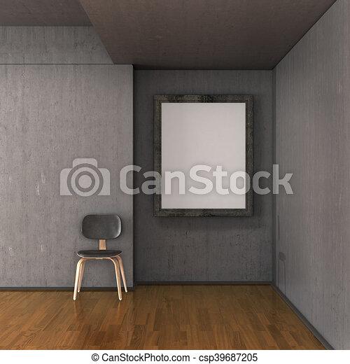 Galería, lona, pared, habitación, ilustración, wall., concreto ...