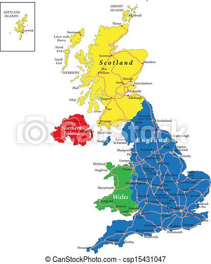 Escocia Mapa Reino Unido.Inglaterra Escocia Mapas Un Mapa De Vector Muy Detallado Del Reino Unido Con Regiones Administrativas Ciudades Y