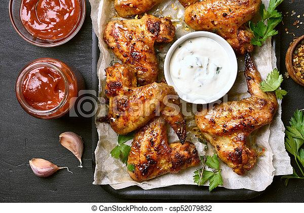 galinha, assado, asas - csp52079832