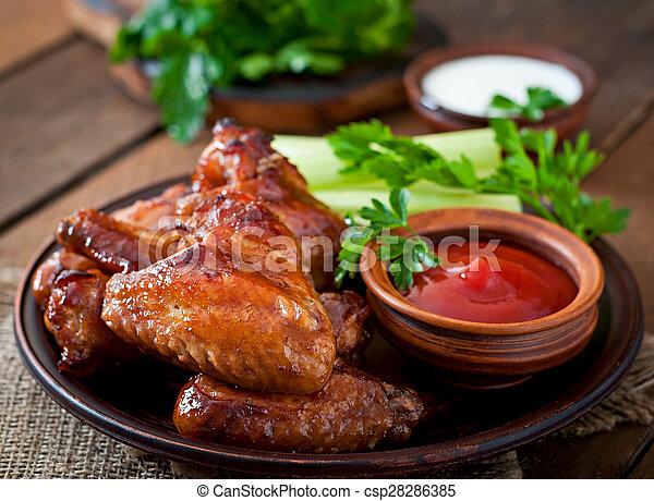 galinha, assado, asas - csp28286385