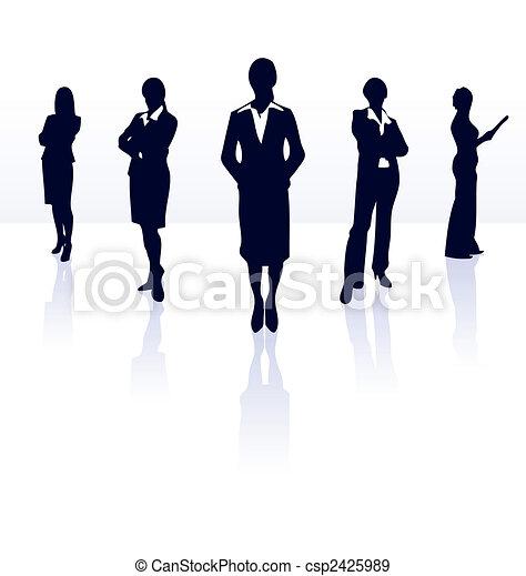 Siluetas del equipo de mujeres de negocios. Más en mi galería. - csp2425989