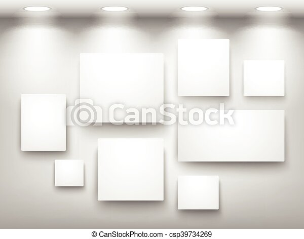 Gallery of empty frames on wall with lighting. Gallery of empty ...