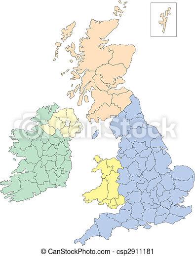 Carte Angleterre Irlande Ecosse.Galles Ecosse Angleterre Irlande Adobe Couleur Districts