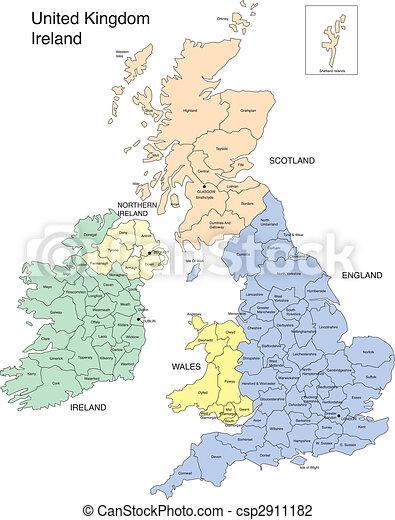 Cartina Inghilterra E Scozia.Galles Inghilterra Irlanda Scozia Colorare Costruzione Giu Distretto Grande Inghilterra Citta Amministrativo Canstock