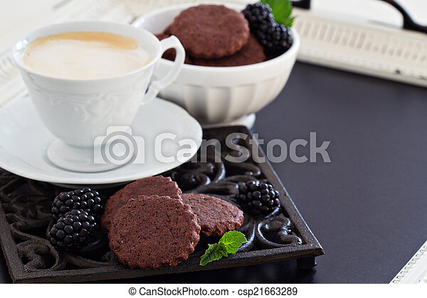 galletas, café, chocolate - csp21663289