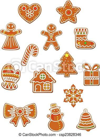 Galletas pan gengibre, conjunto, navidad. Caja, galletas, conjunto ...