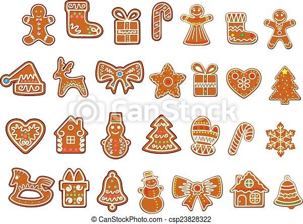 Galletas pan gengibre, figuras, navidad. Hombres, galletas, plano de ...