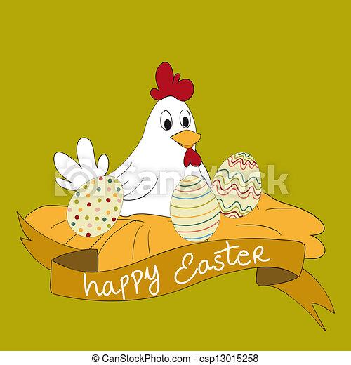 gallina, huevos de pascua, feliz - csp13015258