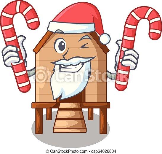 Santa con pollo dulce en un gallinero de madera - csp64026804