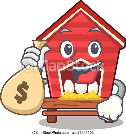 Con el gallinero de bolsa de dinero aislado en la mascota - csp71811108