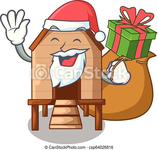 Santa con pollo regalado en un gallinero de madera - csp64026816