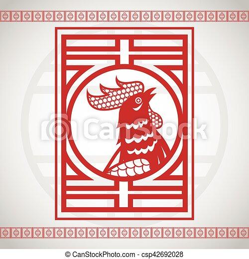 Calendario Zodiacale Cinese.Gallo Zodiaco Calendario Cinese Rosso
