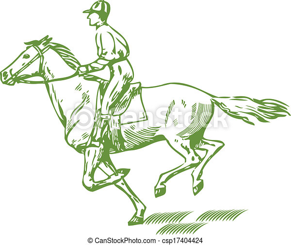 Galloping Horse Graphic Drawing Of Jockey On A Vector