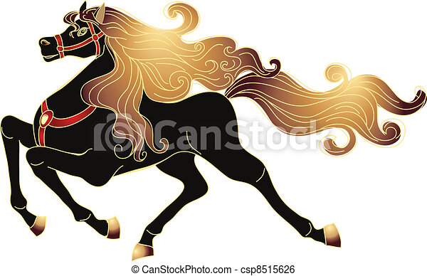 Galloping horse with a gold mane - csp8515626