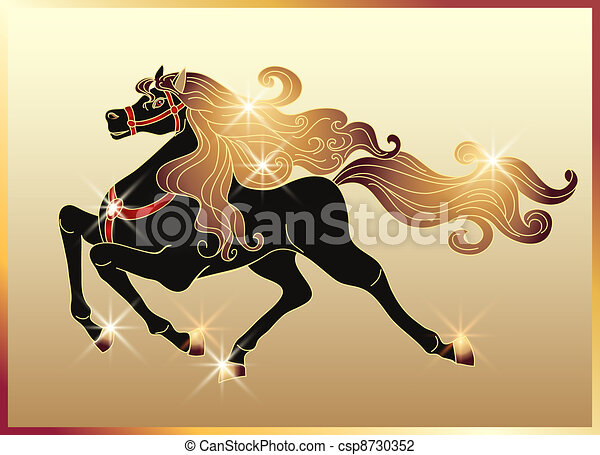 Galloping horse with a gold mane - csp8730352