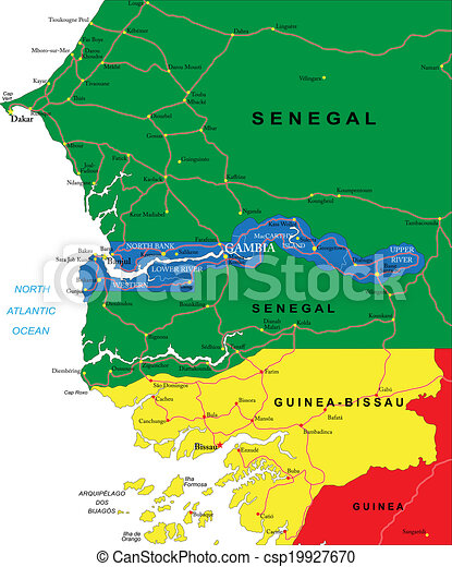 gambia karta Gambia map. Highly detailed vector map of gambia with  gambia karta