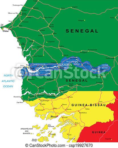 El Mapa De Gambia Mapa Vectorial De Gambia Con Regiones