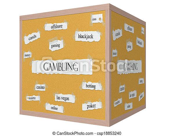 Gambling 3D cube Corkboard Word Concept - csp18853240