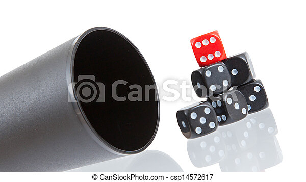 Gambling background with dice and dice cup - csp14572617