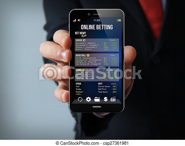 gambling businessman smartphone - csp27361981