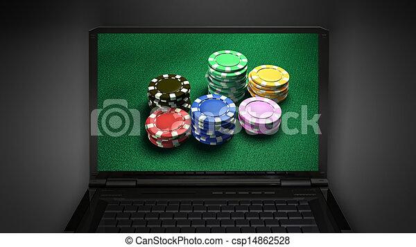 gambling chip is display on laptop screen - csp14862528