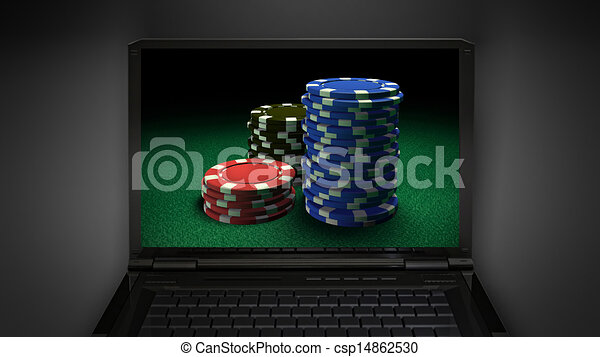 gambling chip theme is display on laptop screen - csp14862530