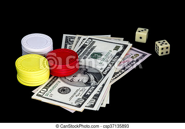 Gambling Chips Money and Dice on Black Background - csp37135893