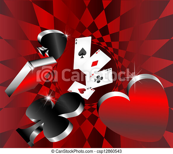 gambling icons cards shiny metallic - csp12860543