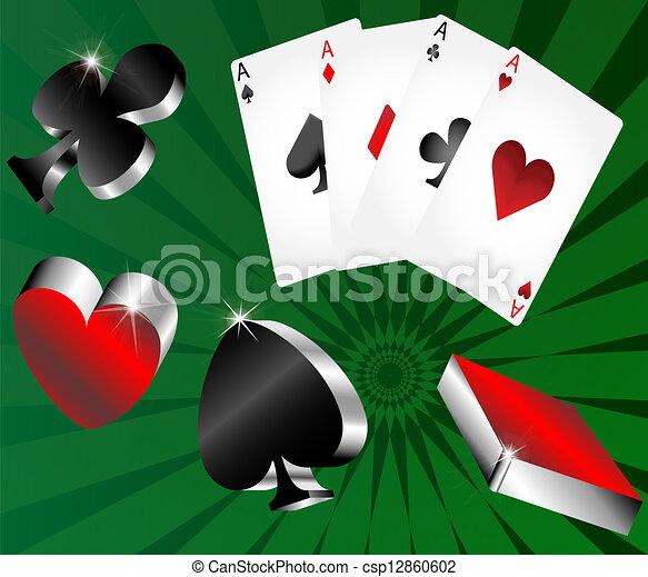 gambling icons cards shiny metallic - csp12860602