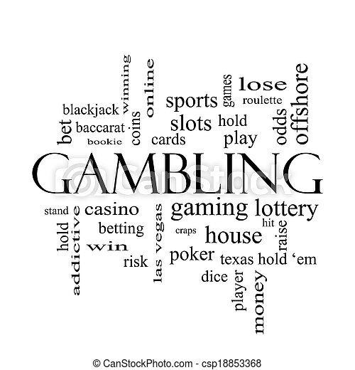 Gambling Word Cloud Concept in black and white - csp18853368
