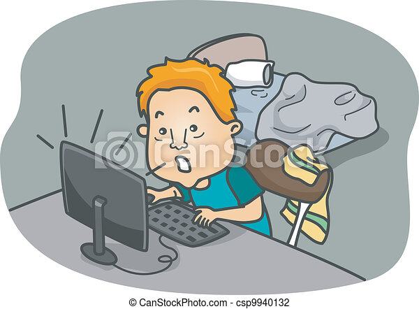Game addict. Illustration of a man addicted to online games.