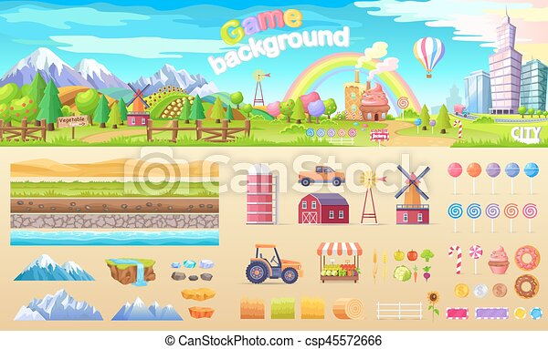 Game Background Set of Urban Playground Structure - csp45572666