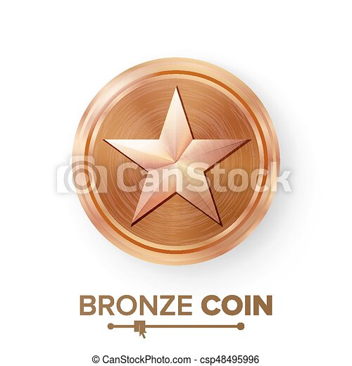 game bronze coin vector with star realistic bronze achievement icon