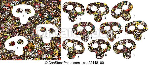 game., caché, halloween, allumette, morceaux, solution, layer!, visuel - csp22448100