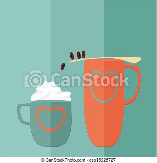 Juego de café. Vector plano - csp18328727