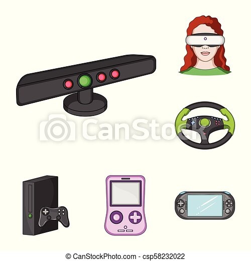 Game console and virtual reality cartoon icons in set collection for design. Game Gadgets vector symbol stock web illustration. - csp58232022