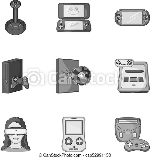 058d21f472da Game Console And Virtual Reality Monochrome Icons In Set Collection For  Design.game Gadgets Vector