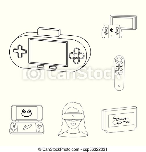 5987989d5985 Game Console And Virtual Reality Outline Icons In Set Collection For Design. game Gadgets Vector