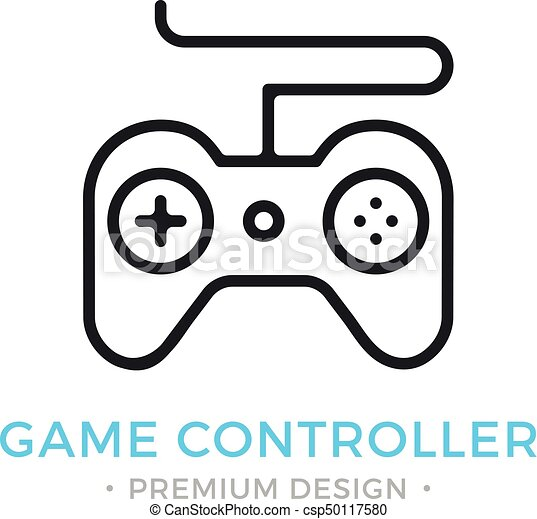 Game Controller Icon Outline Gamepad Logo Modern Vector Thin Line - Game outline