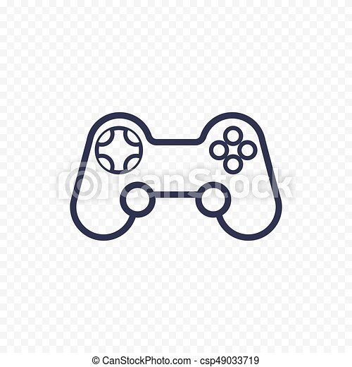 Game Controller Line Icon Gamepad Thin Linear Signs For Video - Video game outline