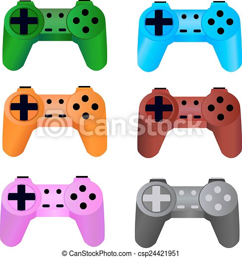 game controller on a white background. Vector. - csp24421951