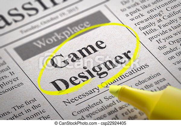 Game Designer Jobs In Newspaper Job Search Concept - Game designer jobs uk